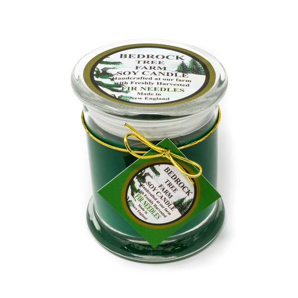 Glass Pillar Jar Soy Candle Fir Needle Green 12oz - Bedrock Tree Farm Fir Needle Products