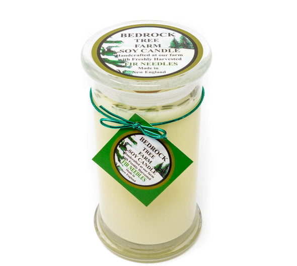 Glass Pillar Jar Soy Candle Fir Needle Natural 21oz - Bedrock Tree Farm Fir Needle Products