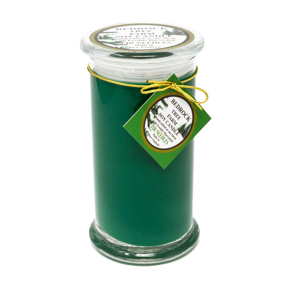 Glass Pillar Jar Soy Candle Fir Needle Green 21oz - Bedrock Tree Farm Fir Needle Products