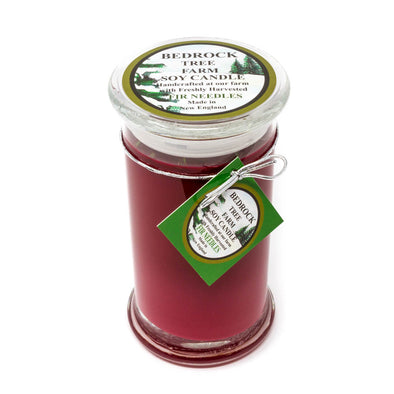 Glass Pillar Jar Soy Candle Fir Needle Burgundy 21oz - Bedrock Tree Farm Fir Needle Products