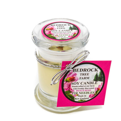Glass Pillar Jar Soy Candle Beach Rose Fir 2.75oz - Bedrock Tree Farm Fir Needle Products