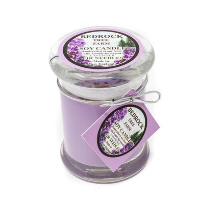 Glass Pillar Jar Soy Candle Lavender 8oz - Bedrock Tree Farm Fir Needle Products
