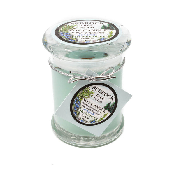 Glass Pillar Jar Soy Candle Juniper 8oz-Bedrock Tree Farm Fir Needle Products