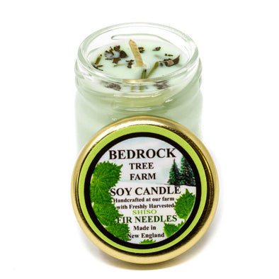 Glass Mason Jar Soy Candle Shiso 1.25oz - Bedrock Tree Farm Fir Needle Products