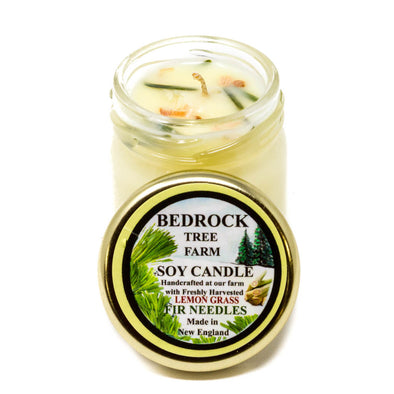 Glass Mason Jar Soy Candle Lemongrass 1.25oz-Bedrock Tree Farm Fir Needle Products