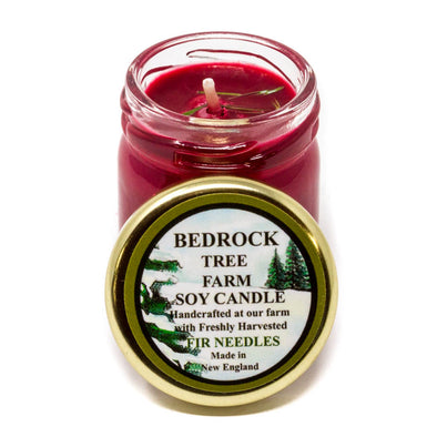 Glass Mason Jar Soy Candle Fir Needle Burgundy 1.25oz - Bedrock Tree Farm Fir Needle Products
