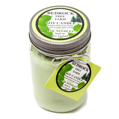 Glass Mason Jar Soy Candle Shiso 16oz-Bedrock Tree Farm Fir Needle Products