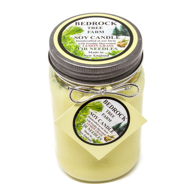Glass Mason Jar Soy Candle Lemongrass 16oz - Bedrock Tree Farm Fir Needle Products