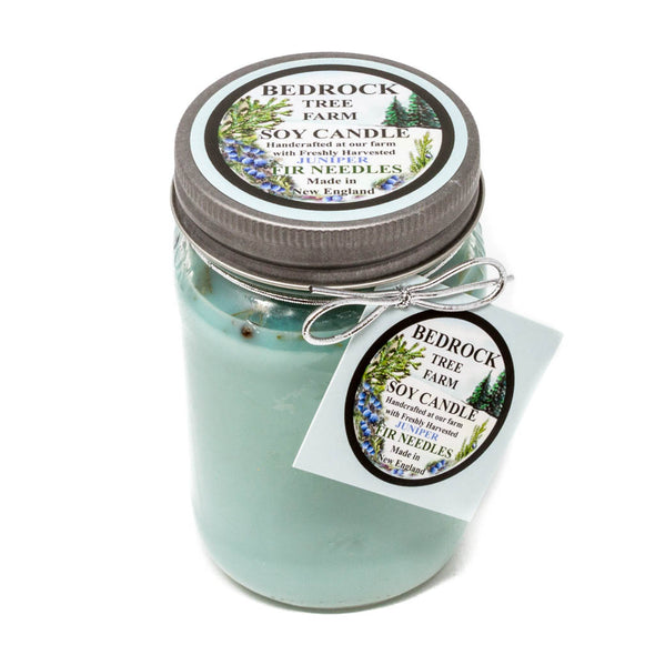 Glass Mason Jar Soy Candle Juniper 16oz - Bedrock Tree Farm Fir Needle Products