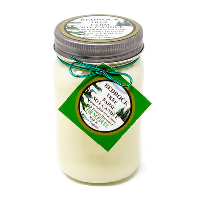 Glass Mason Jar Soy Candle Fir Needle Natural 16oz - Bedrock Tree Farm Fir Needle Products