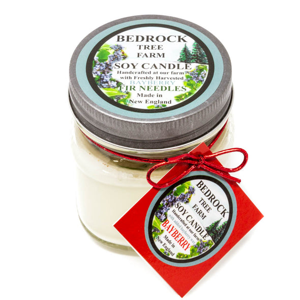 Glass Mason Jar Soy Candle Bayberry 8oz-Bedrock Tree Farm Fir Needle Products