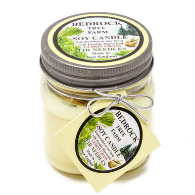 Glass Mason Jar Soy Candle Lemongrass 8oz - Bedrock Tree Farm Fir Needle Products
