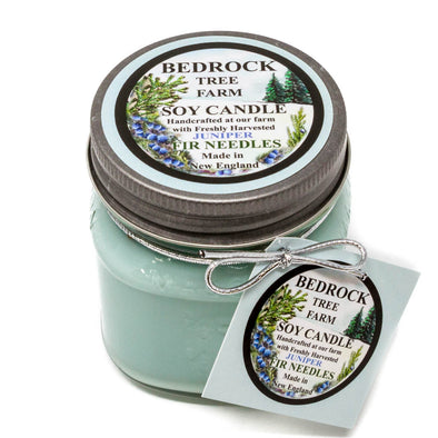 Glass Mason Jar Soy Candle Juniper 8oz - Bedrock Tree Farm Fir Needle Products