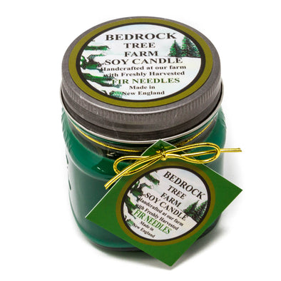 Glass Mason Jar Soy Candle Fir Needle Green 8oz - Bedrock Tree Farm Fir Needle Products