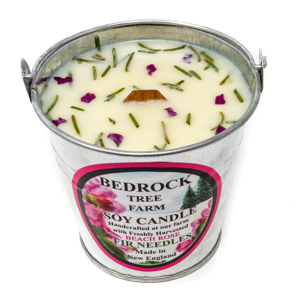 Galvanized Metal Pail Soy Candle Beach Rose Fir 12oz - Bedrock Tree Farm Fir Needle Products