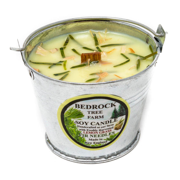 Galvanized Metal Pail Soy Candle Lemongrass 3oz-Bedrock Tree Farm Fir Needle Products