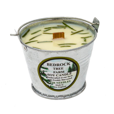 Galvanized Metal Pail Soy Candle Fir Needle Natural 3oz - Bedrock Tree Farm Fir Needle Products