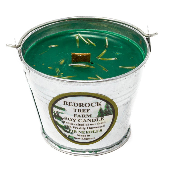 Galvanized Metal Pail Soy Candle Fir Needle Green 3oz - Bedrock Tree Farm Fir Needle Products