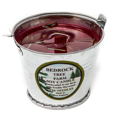 Galvanized Metal Pail Soy Candle Fir Needle Burgundy 3oz - Bedrock Tree Farm Fir Needle Products