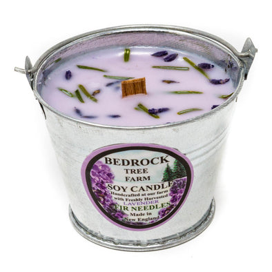 Galvanized Metal Pail Soy Candle Lavender 3oz - Bedrock Tree Farm Fir Needle Products