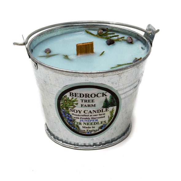 Galvanized Metal Pail Soy Candle Juniper 3oz - Bedrock Tree Farm Fir Needle Products