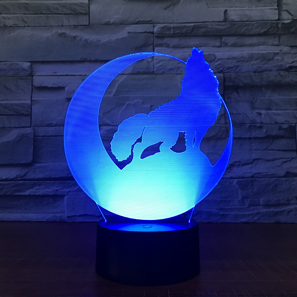 Crescent Moon Wolf 3D Lamp