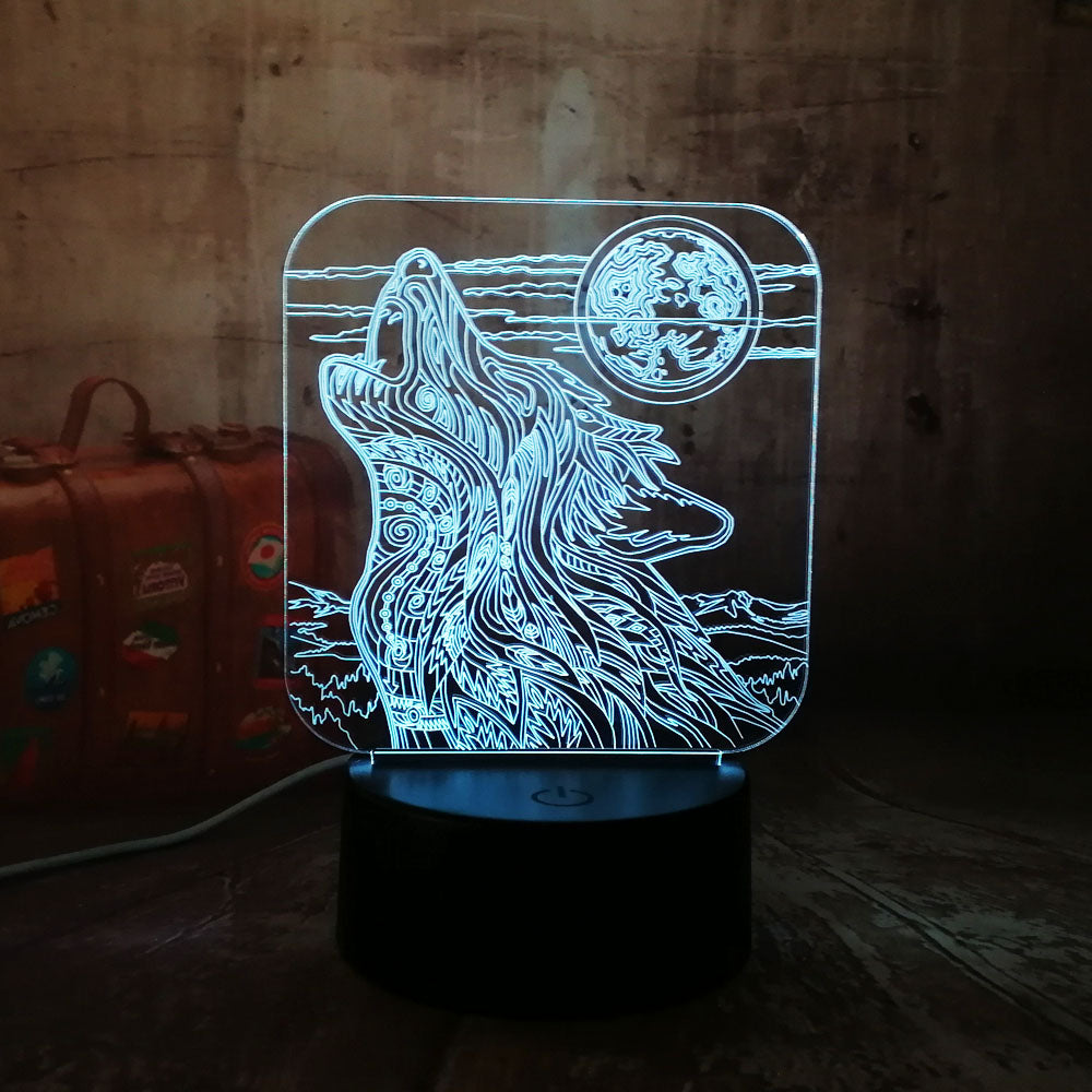 New Moon Wolf 3D Lamp