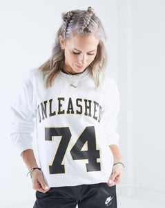 White Unleashed Raw Hem Sweatshirt