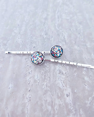 Confetti Cake Silver Bobby Pin (x1 Bobby Pin) - Her Handwork