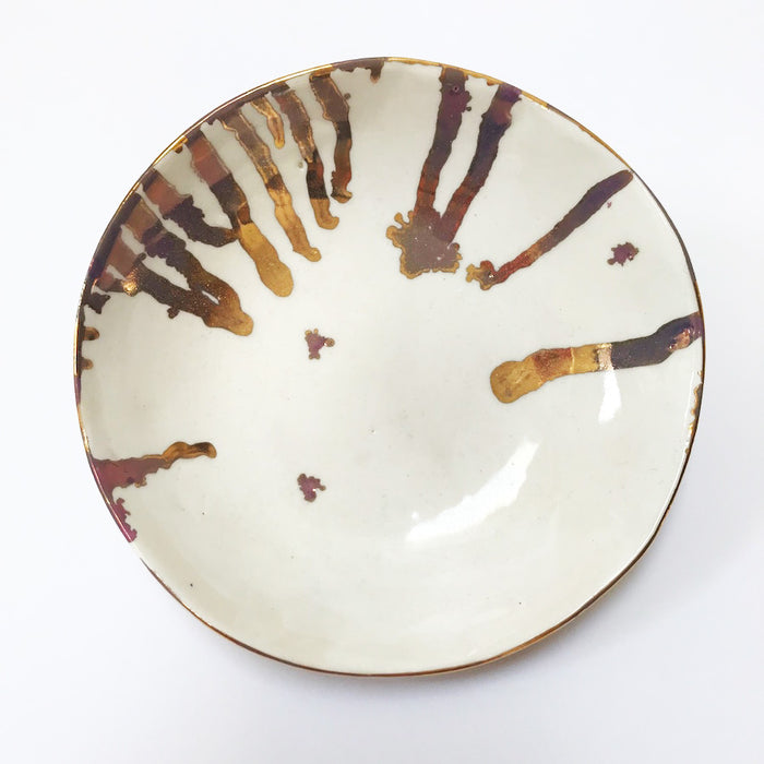 Buy Ceramic Handmade Bowl - Gold Drip - The Interiors Assembly