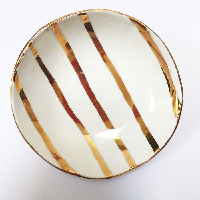 Buy Ceramic Handmade Bowl - Gold Stripe - The Interiors Assembly