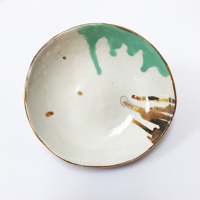 Buy Ceramic Handmade Bowl - Gold and Green - The Interiors Assembly