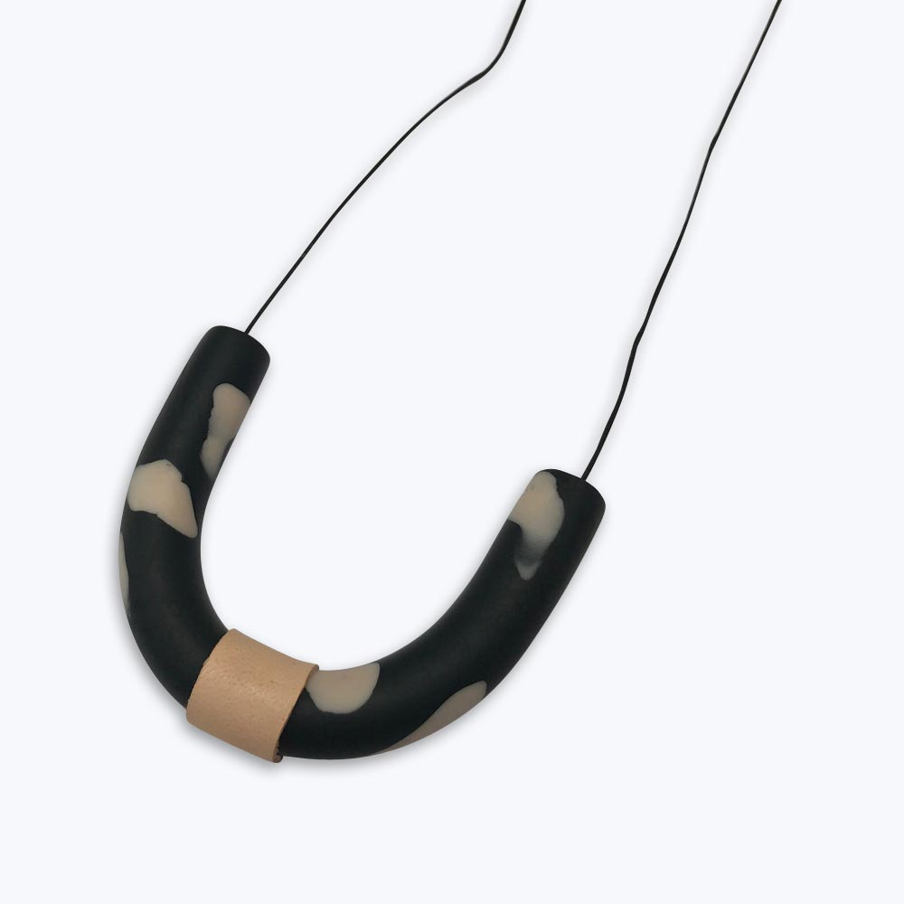 Buy U Neclace - Black  / Blush - The Interiors Assembly