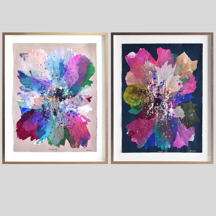 Buy 'Royal Lily' & 'Lollipop Lily' Original Artwork on Art Paper Framed - Artwork Duo - The Interiors Assembly