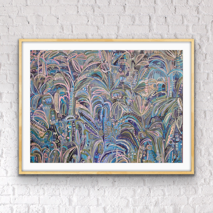 ' AQUA PALMS ' LIMITED EDITION ART PRINT