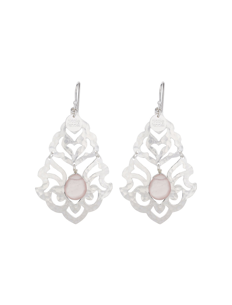 Nicole Fendel Freegrace Bead Earrings Rose Quartz