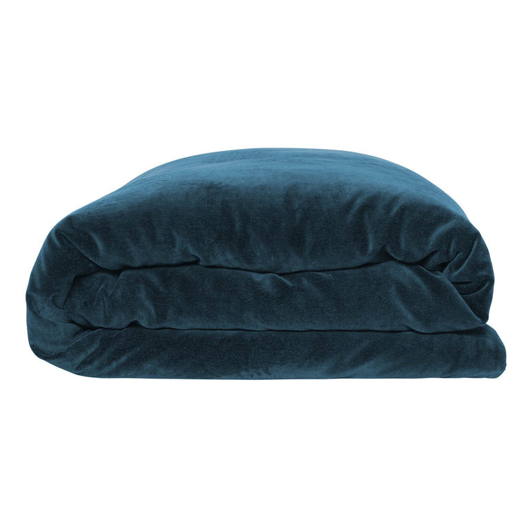 Kip & Co Teal Blue Velvet Quilt Cover- Queen
