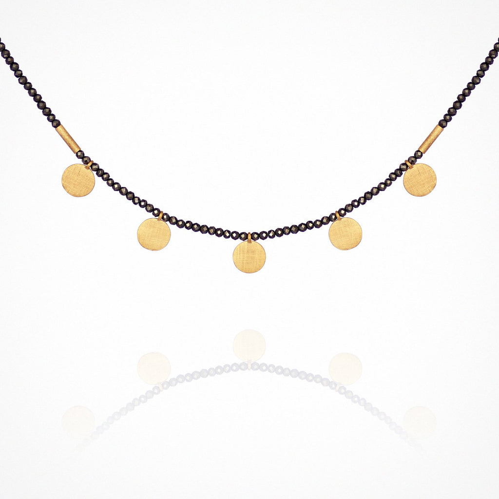 Temple of the Sun Capella Pyrite Necklace with Gold Discs - The Artisan Storeroom