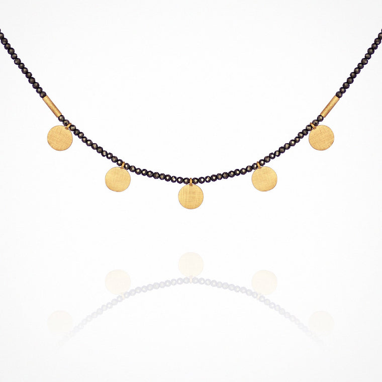 Temple of the Sun Capella Pyrite Necklace with Gold Discs