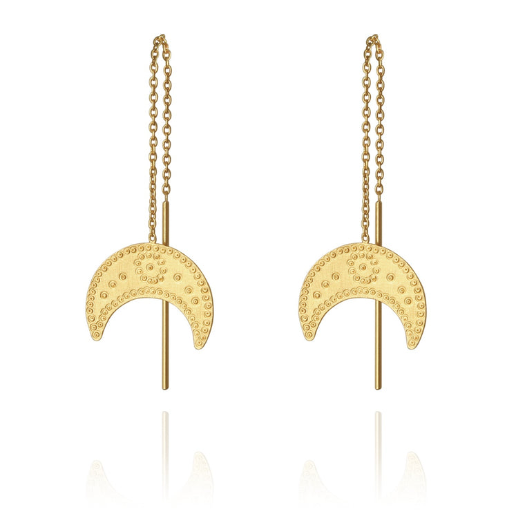 Hanging Moon Gold Earrings