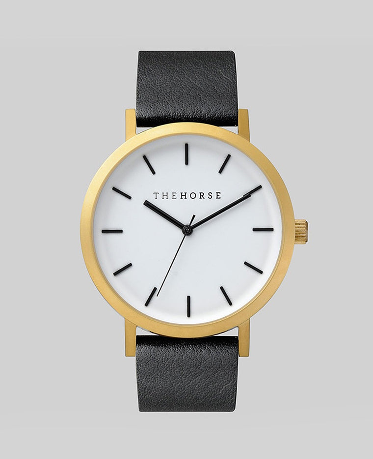 The Horse Original Watch A7- Brushed Rose Gold Case / White Face / Black Band