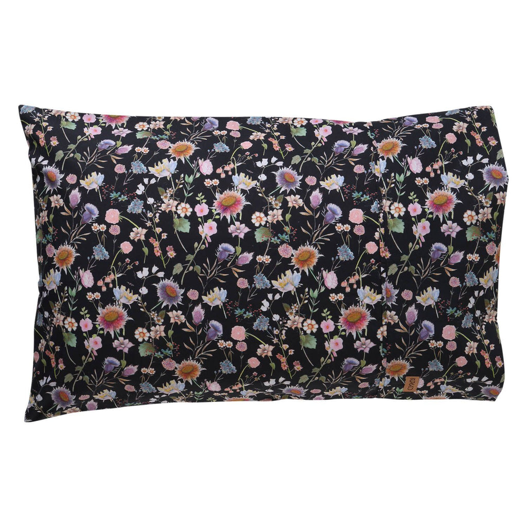 Kip & Co Bouquet Black Cotton 2P Pillowcase Set - The Artisan Storeroom