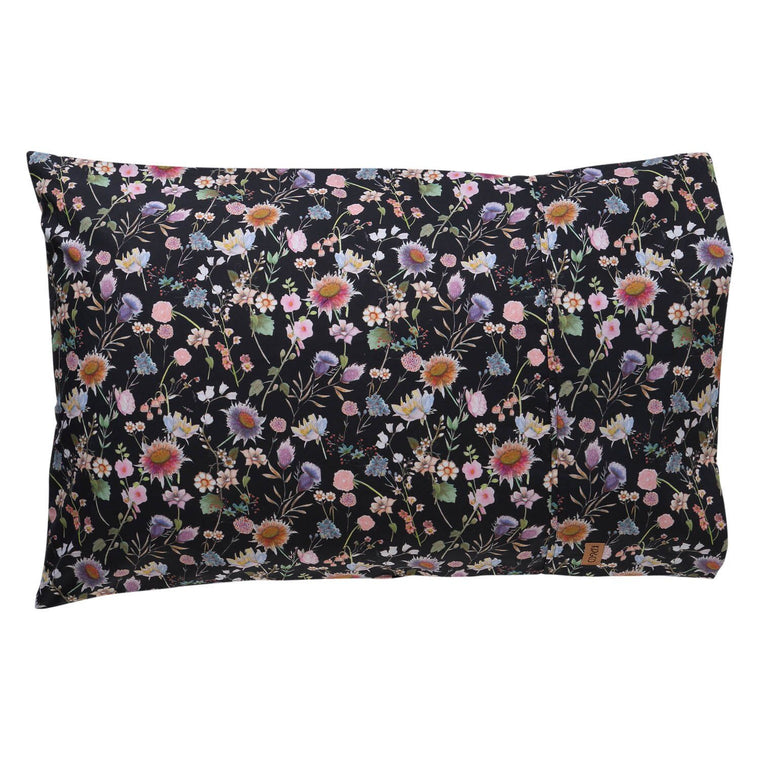 Kip & Co Bouquet Black Cotton 2P Pillowcase Set