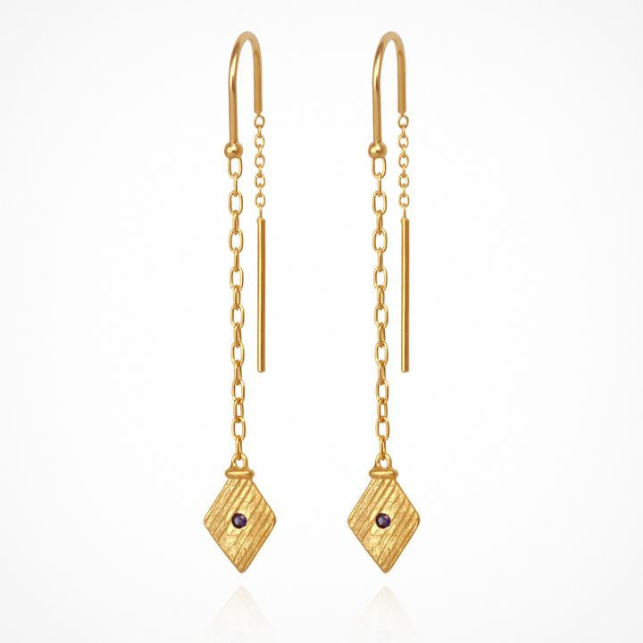 Temple of the Sun Inka Earrings Gold - The Artisan Storeroom