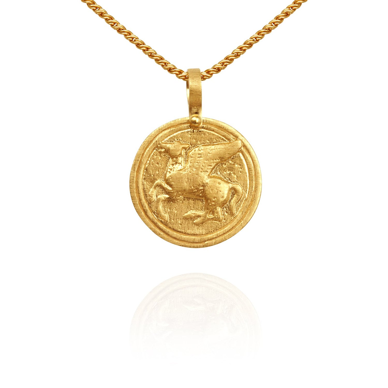 Temple of the Sun Pegasus Coin Necklace Gold - The Artisan Storeroom