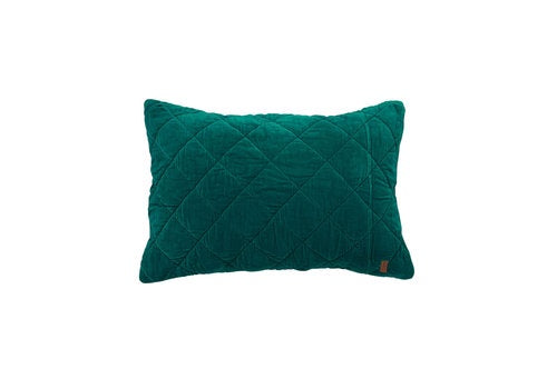 Kip & Co Jade Green Quilted Velvet Pillowcase Set- 2P