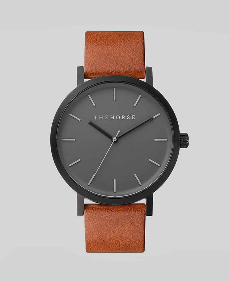 The Horse Original Watch A4- Sandblasted Matte Black Case / Grey Face / Tan Band - The Artisan Storeroom
