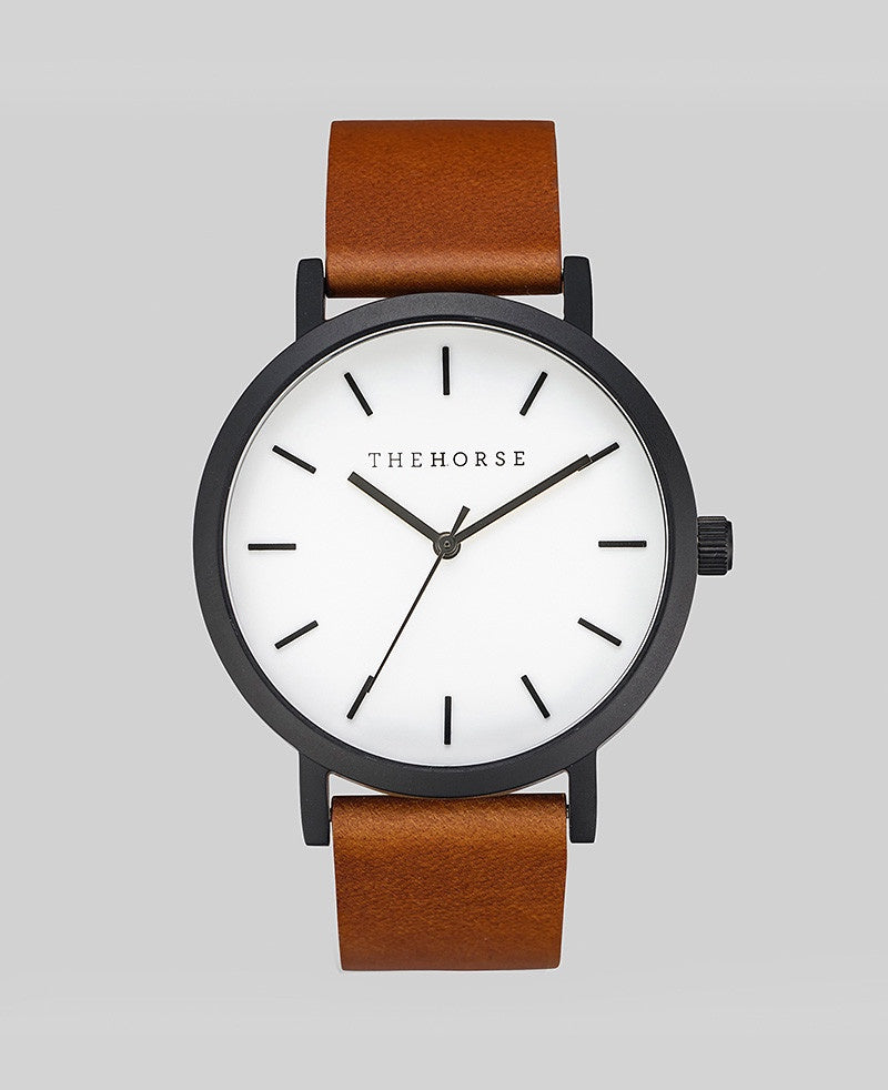 The Horse Original Watch A9- Sandblasted Matte Black Case / White Face / Walnut Band
