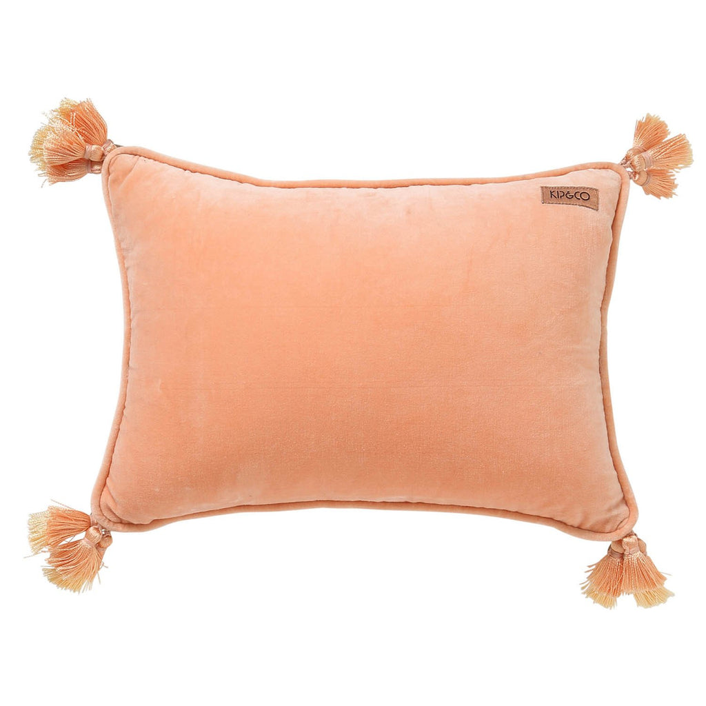 Kip & Co Apricot Velvet Souk Cushion - The Artisan Storeroom