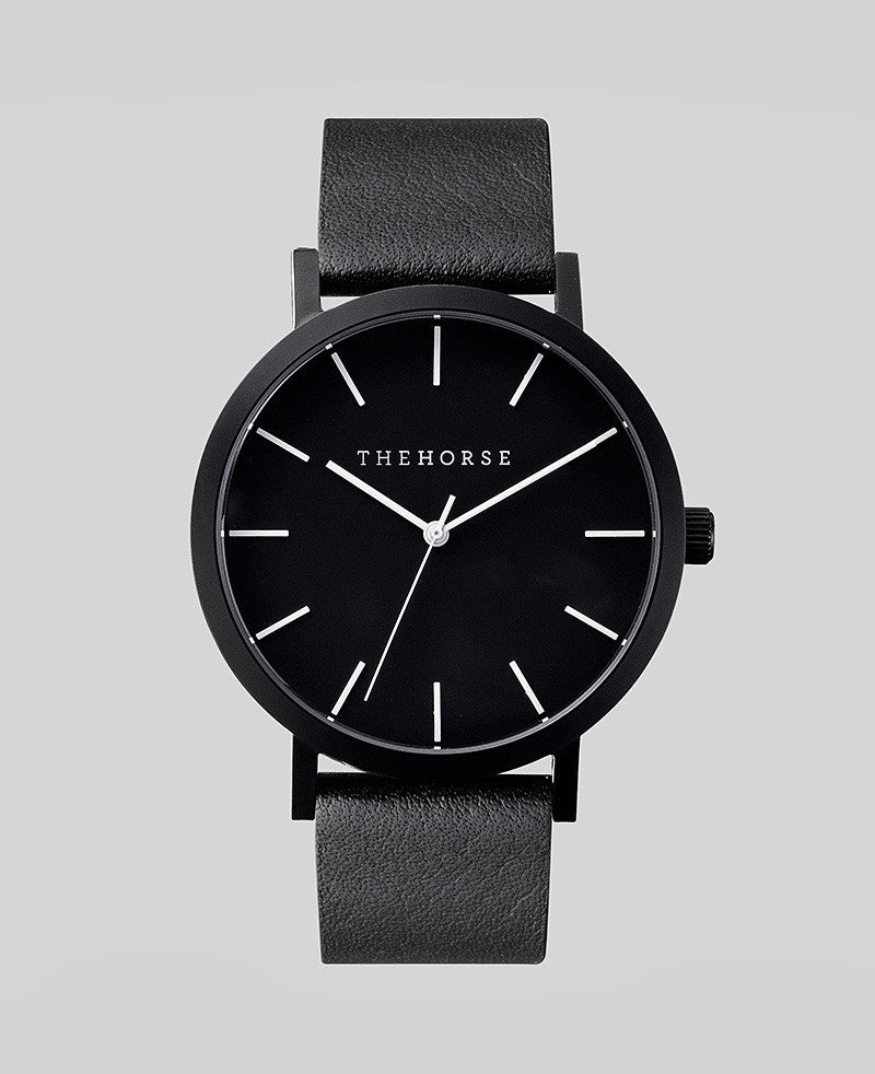 The Horse Original Watch A6- Sand Blasted Matte Black Case / Black Face / Black Band - The Artisan Storeroom